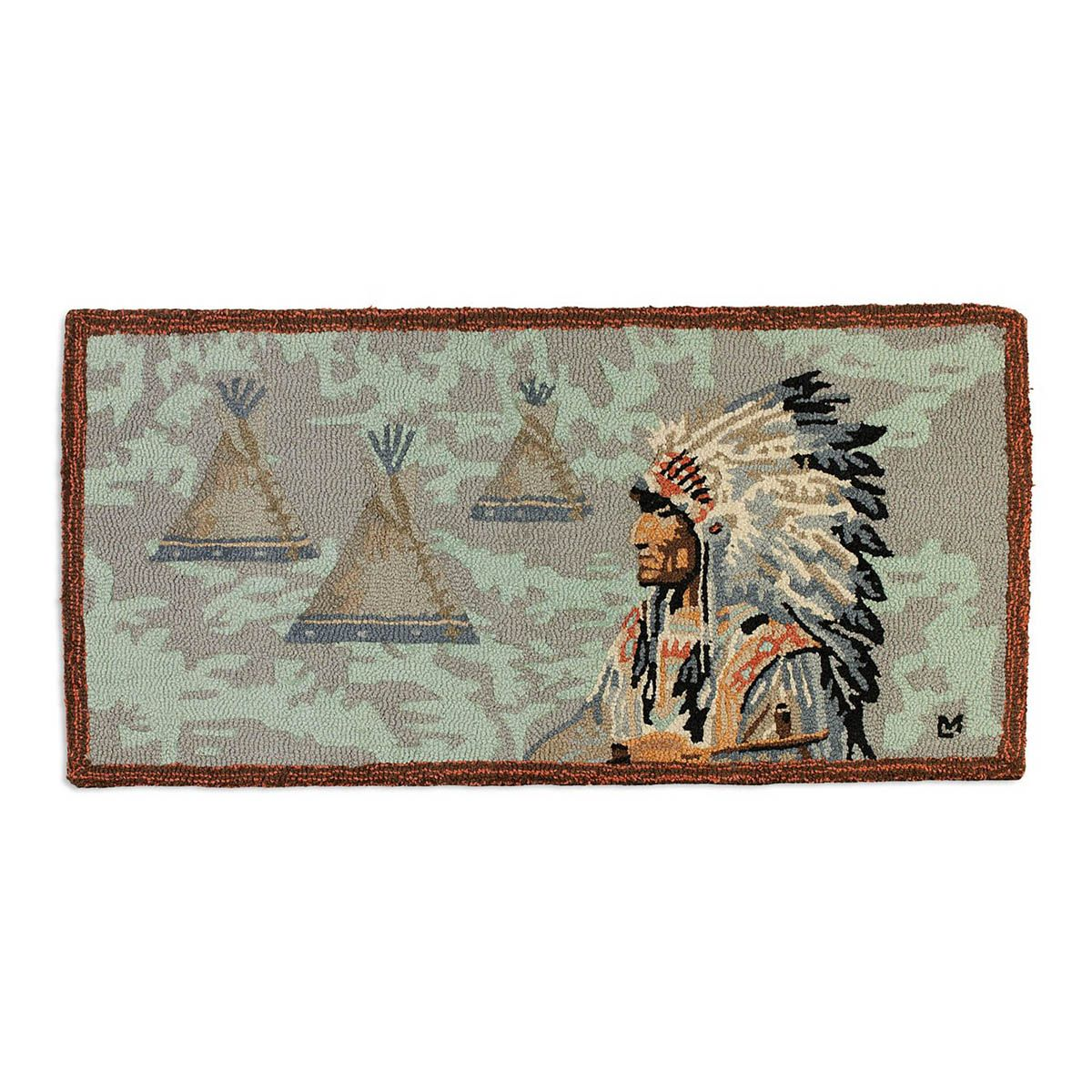 Indian Chief Hooked Wool Rug