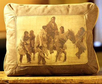 Indian Group Leather Pillow