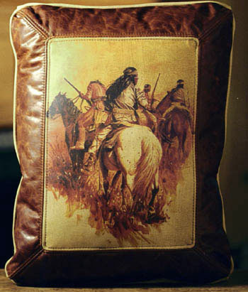Indians Watching Leather Pillow