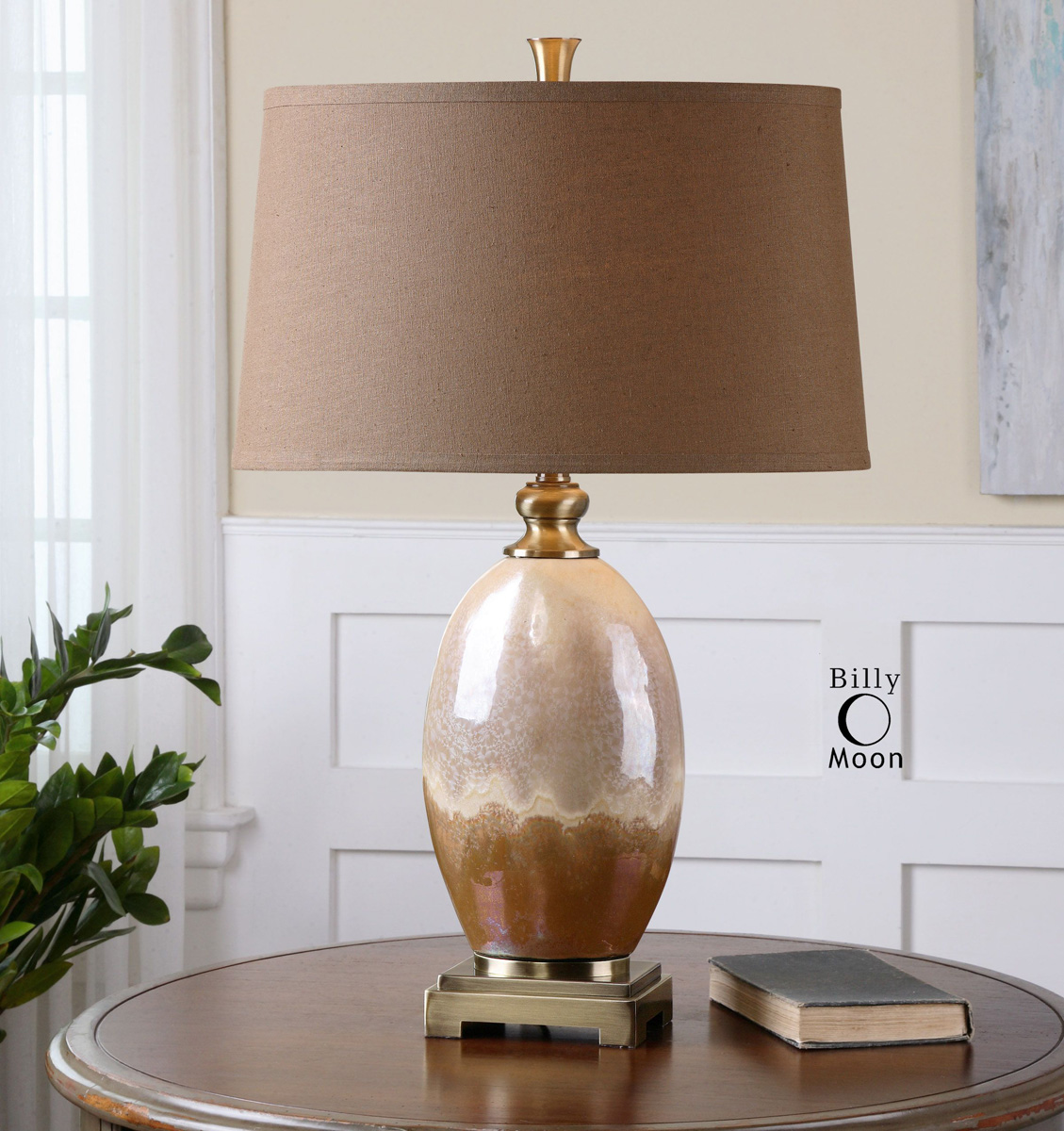Iridescent Ivory and Rust Table Lamp