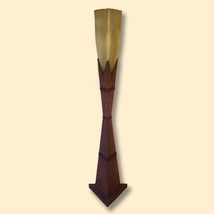 Iron and Frosted Amber Glass Vase Floor Lamp