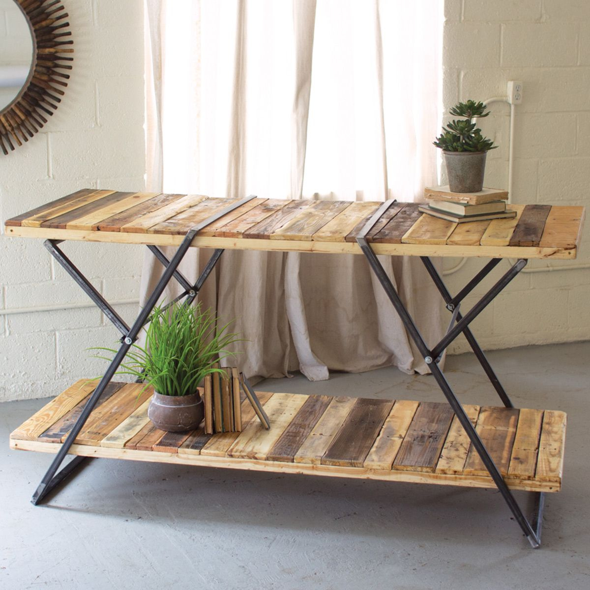 Iron and Reclaimed Wood Folding Display Table