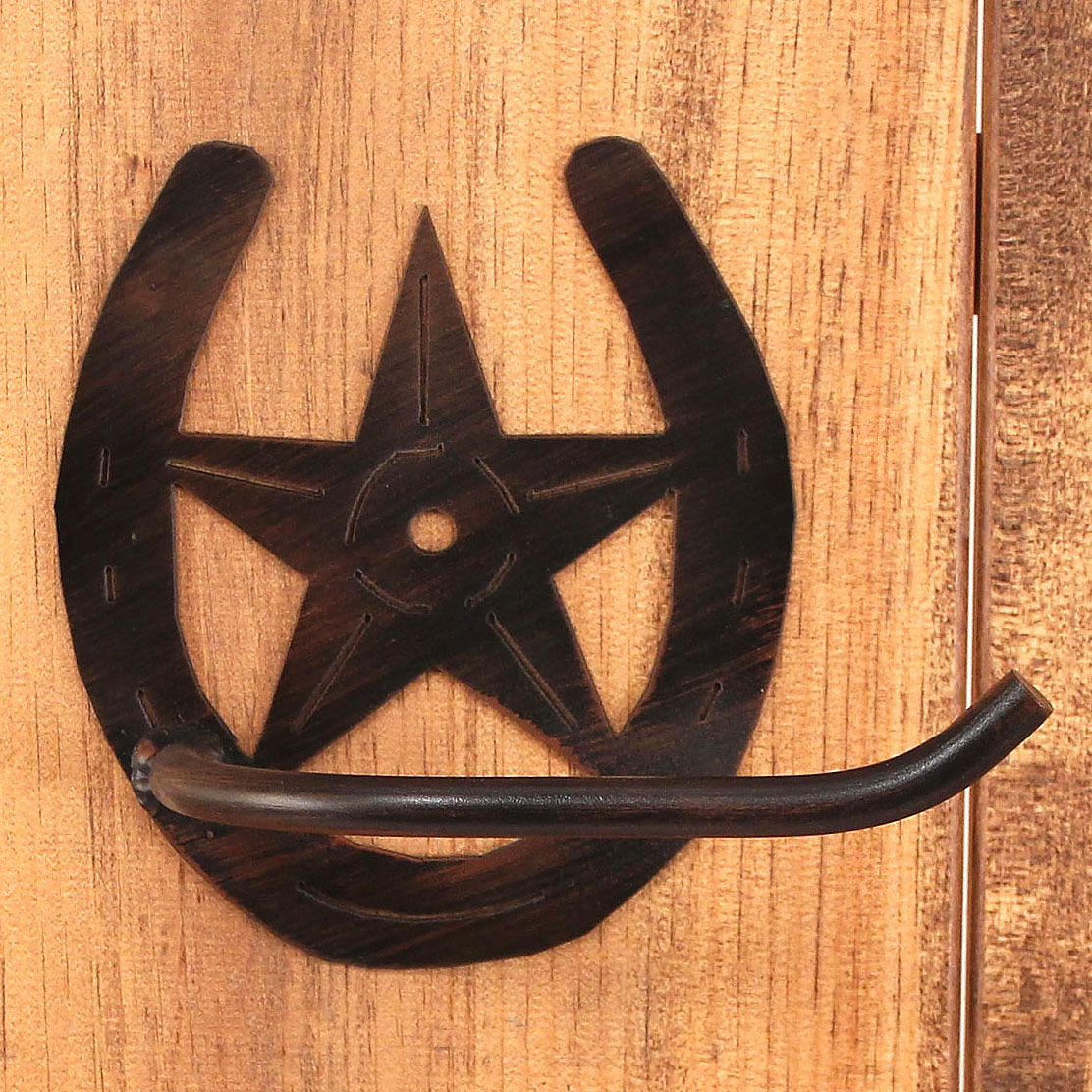 Iron Arm Horseshoe and Star Toilet Paper Holder