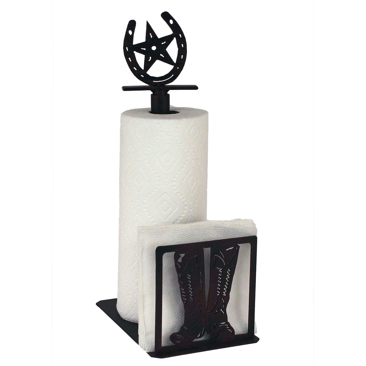 Iron Boot Paper Towel/Napkin Holder with Horseshoe Topper