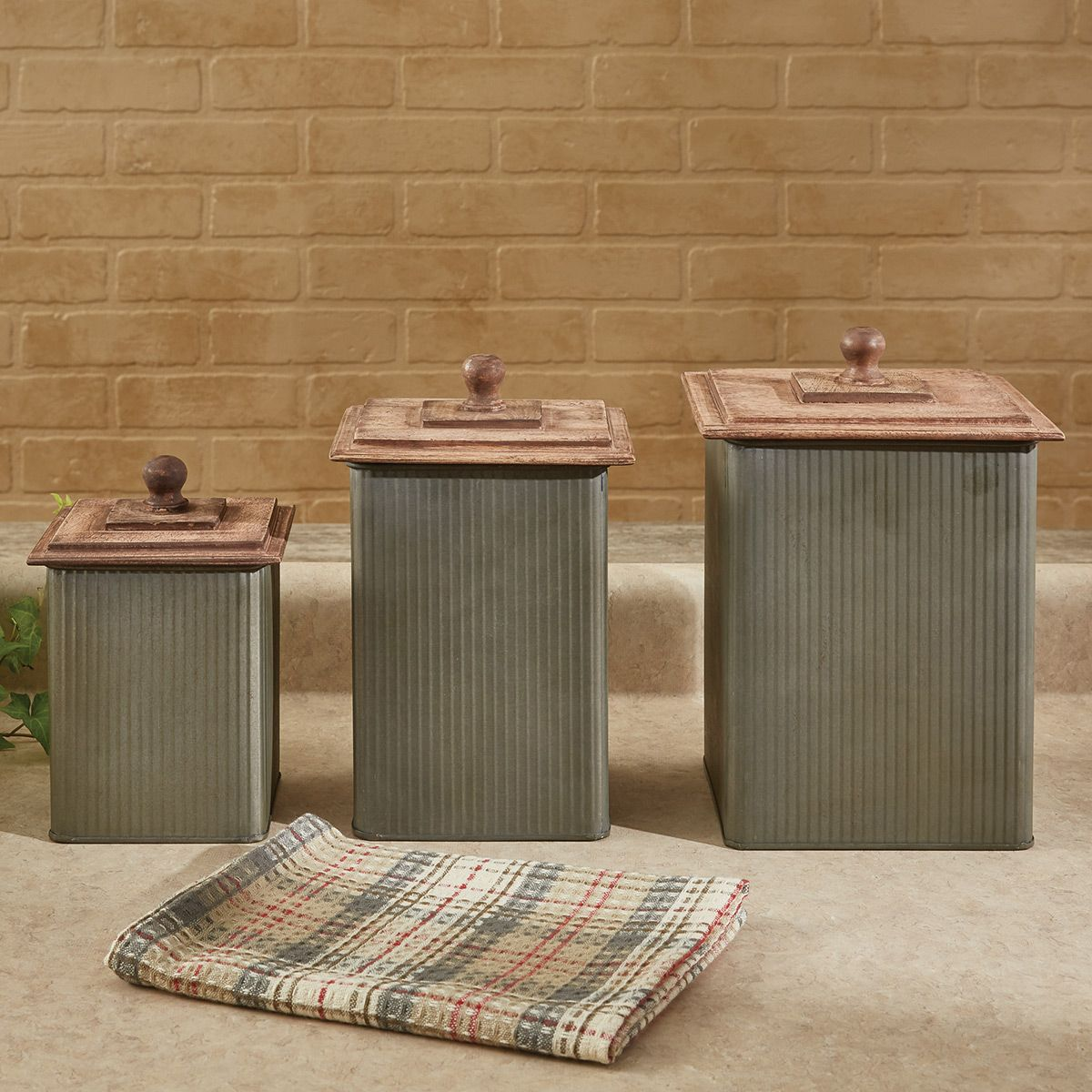 Iron Canisters with Wood Lids - Set of 3