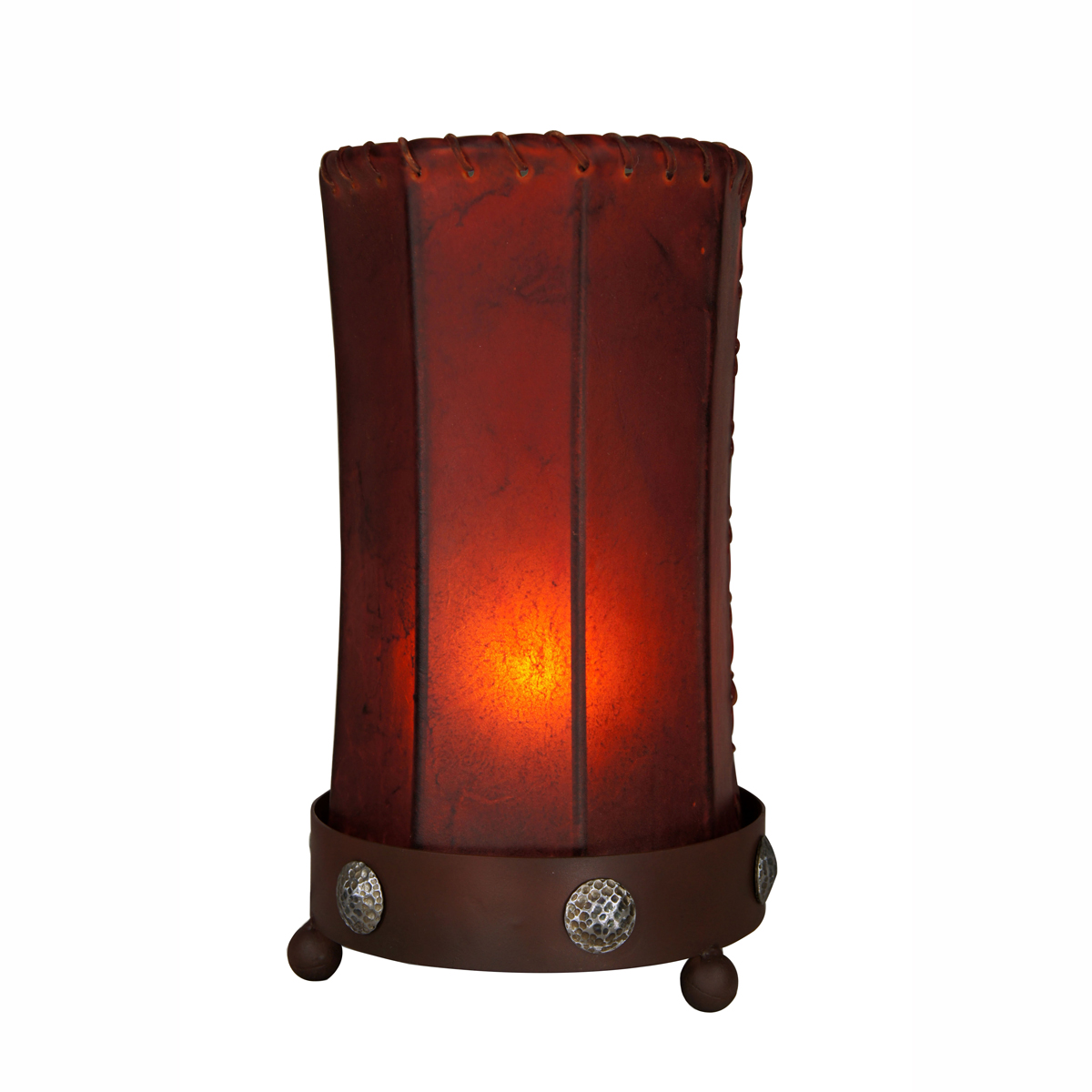 Iron Clavo Accent Lamp with Amber Rawhide Cylinder Shade