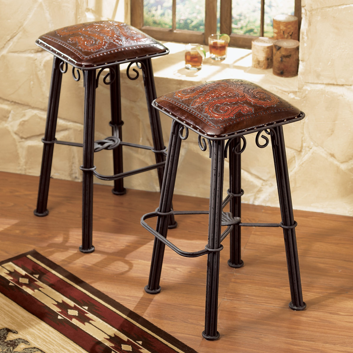 Iron Counter Stool Tooled Leather Seat - Set of 2