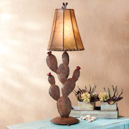 Iron Prickly Pear and Flowers Table Lamp