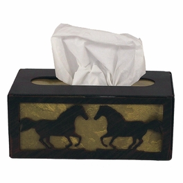 Iron Running Horse Rectangular Tissue Box Cover