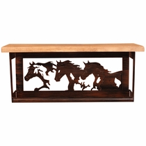 Iron Running Horses Towel Bar & Shelf