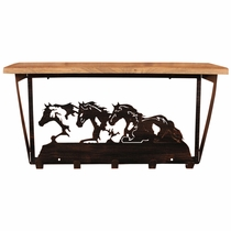 Iron Running Horses Wall Shelf with Hooks