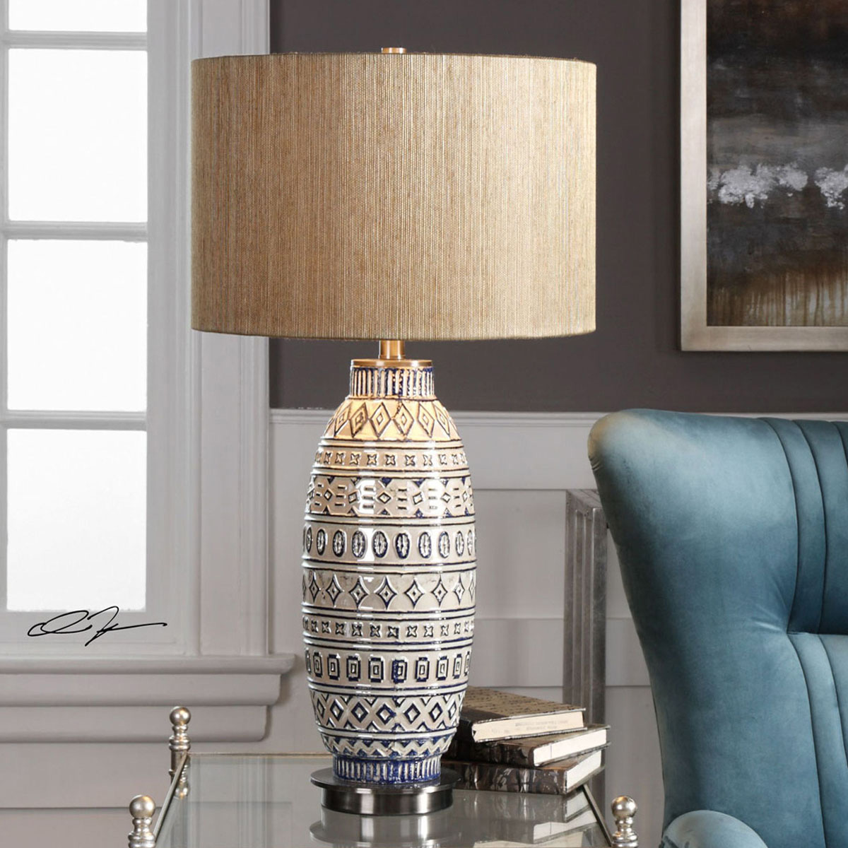 Ivory & Indigo Diamonds Table Lamp