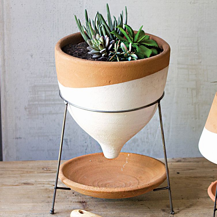 Ivory Splash Funnel Planter and Stand - Large