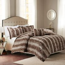 Jackson Chocolate Faux Fur Bed Set - King