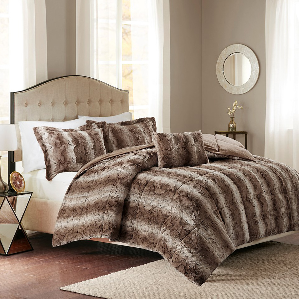 Jackson Chocolate Faux Fur Bed Set - Queen