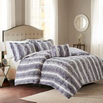 Jackson Gray Faux Fur Bed Set - Queen