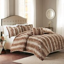 Jackson Tan Faux Fur Bed Set - King