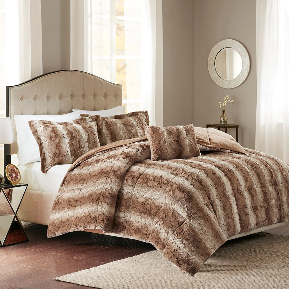 Jackson Tan Faux Fur Bed Set - Queen
