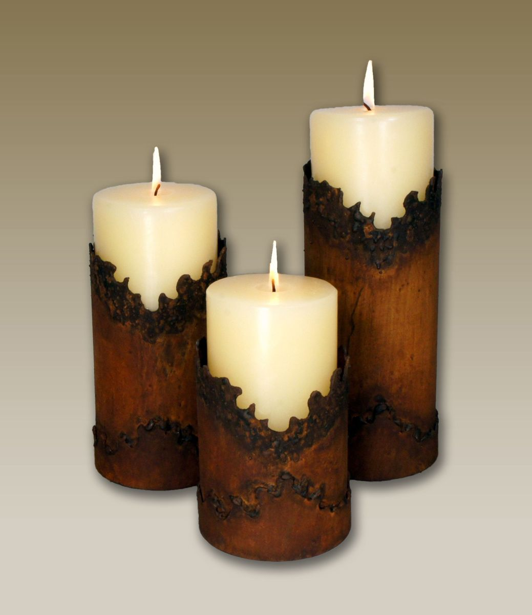 Jagged Edge Southwestern Metal Candle Holders - Set of 3