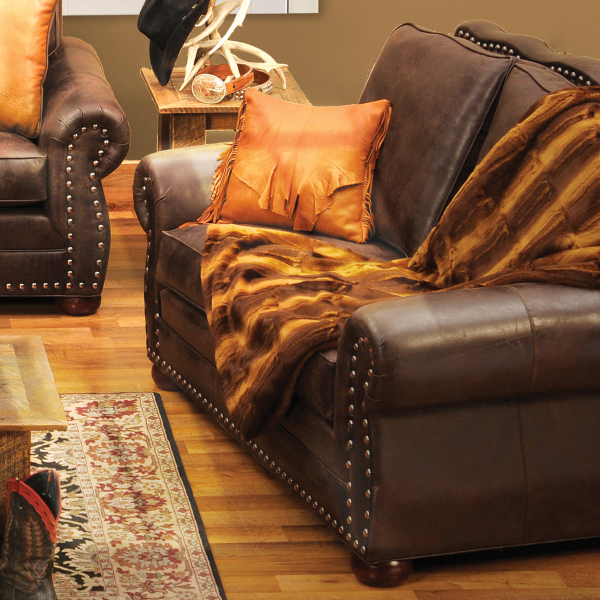 Jerome Davis Loveseat in Timber Leather