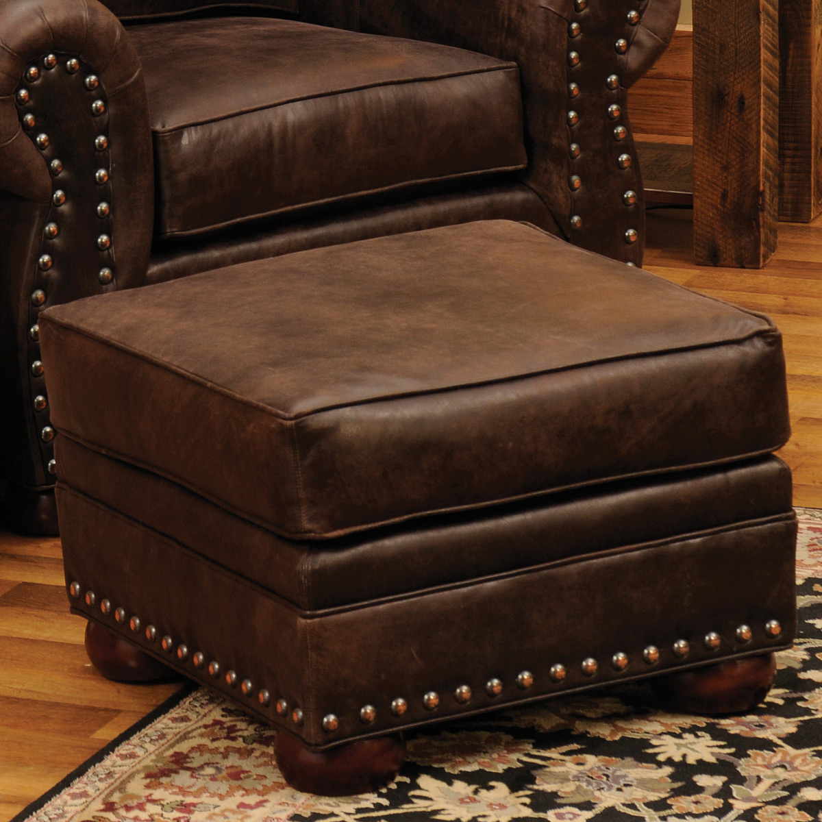 Jerome Davis Ottoman in Timber Leather