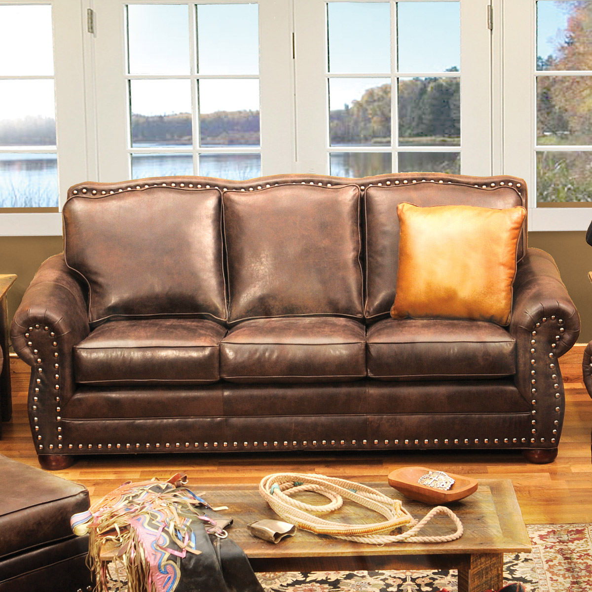 Jerome Davis Sofa in Timber Leather