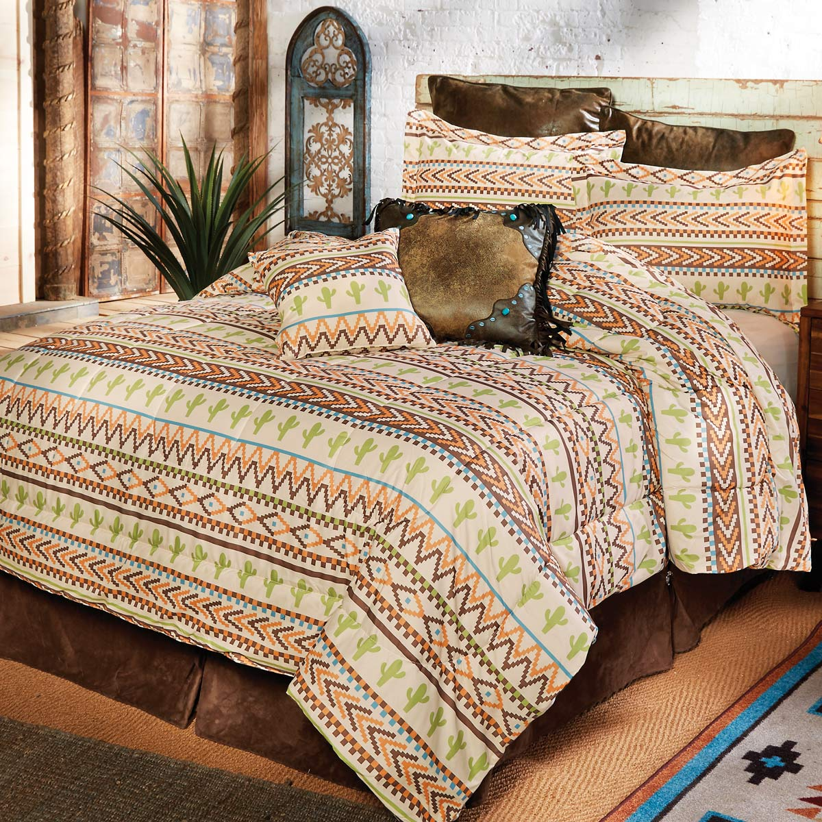 Joshua Stripe Cactus Bed Set - Queen - CLEARANCE