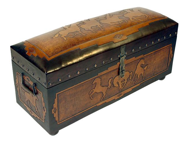 Jumbo Trunk Bench with Side Posse - Horses sides - Two Toned