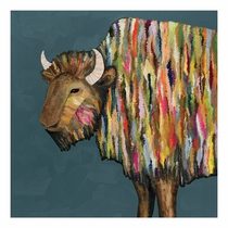 Kaleidoscope Bison Canvas Art - 18 x 18