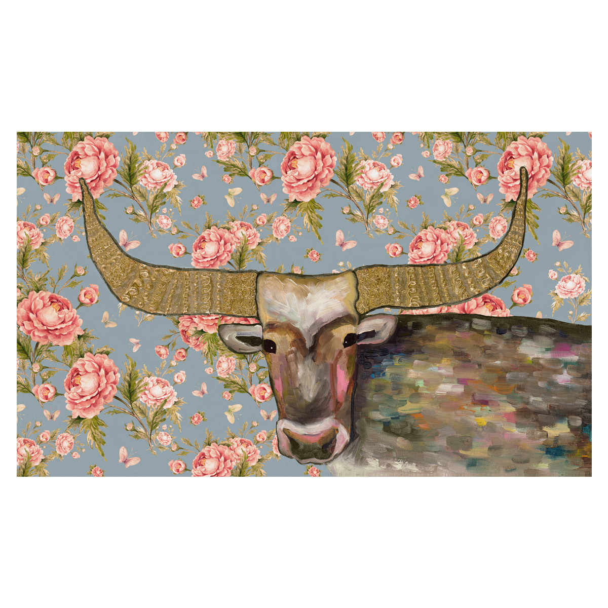 Kaleidoscope Bull Floral Canvas Art