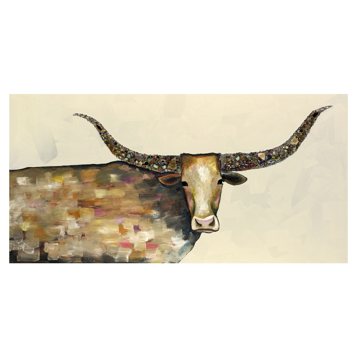 Kaleidoscope Longhorn Neutral Canvas Art