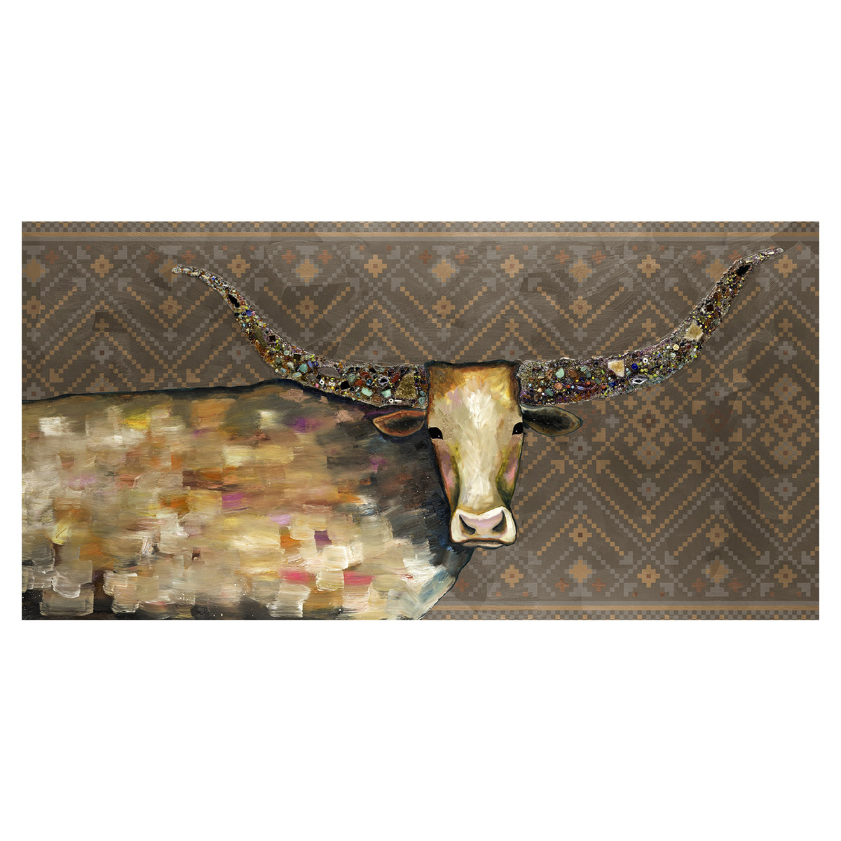 Kaleidoscope Longhorn Tribal Brown Canvas Art