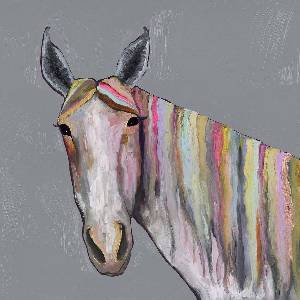 Kaleidoscope Stallion on Gray Canvas Art