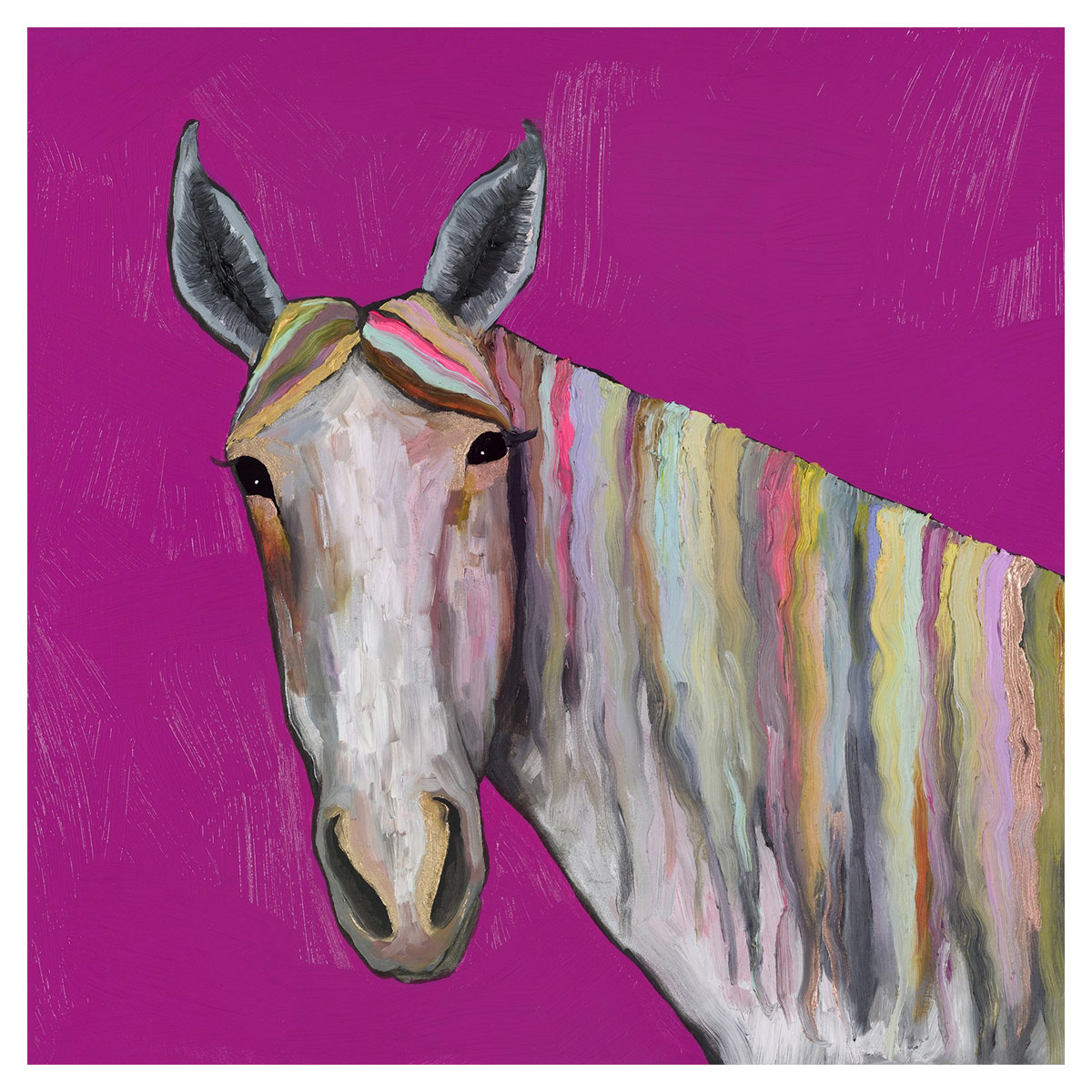 Kaleidoscope Stallion on Pink Canvas Art