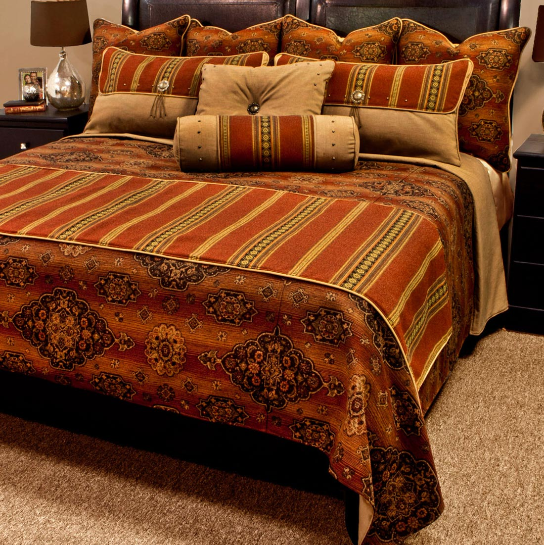 Kensington Rust Luxury Bed Set - Twin
