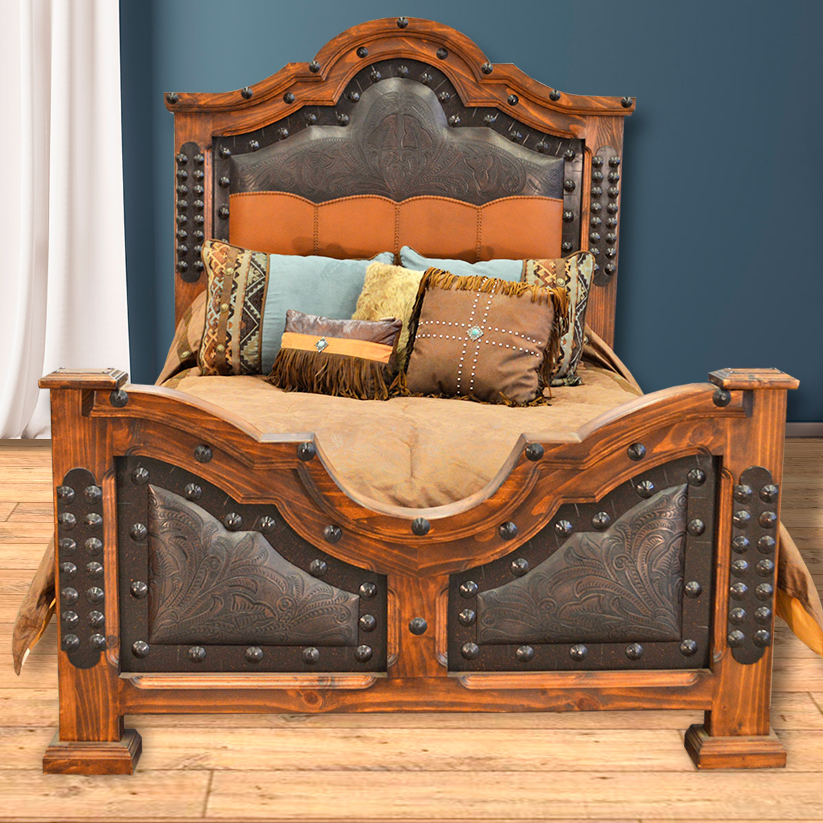 Kensington Tooled Leather Bed - Queen