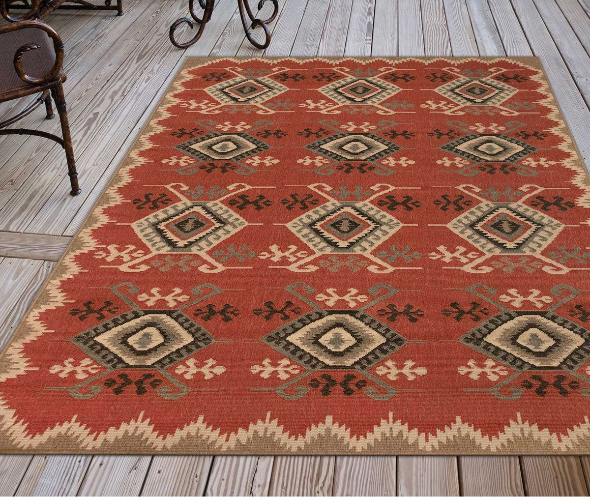 Kerrville Rust Indoor/Outdoor Rug - 3 x 5