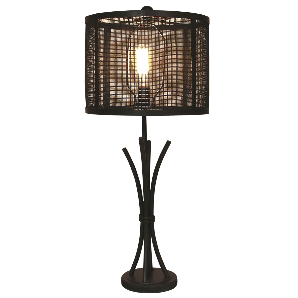 Kodiak Iron Bundle Table Lamp with Metal Mesh Shade
