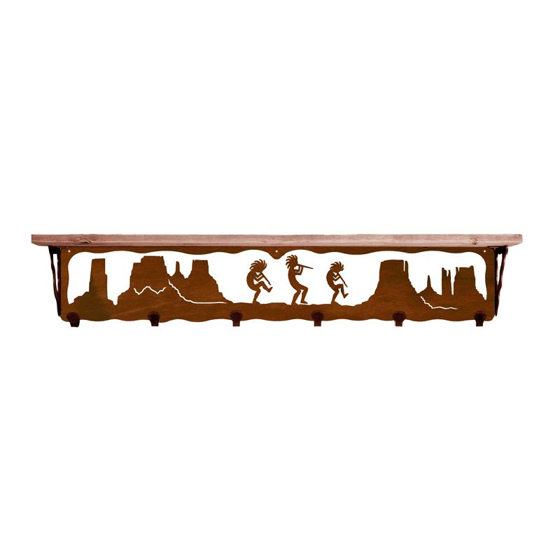 Kokopelli 42 Inch Pine Hook Shelf - Rust