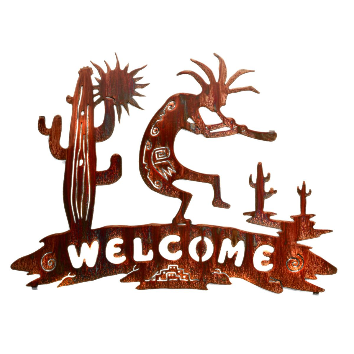 Kokopelli Desert Welcome Metal Wall Art