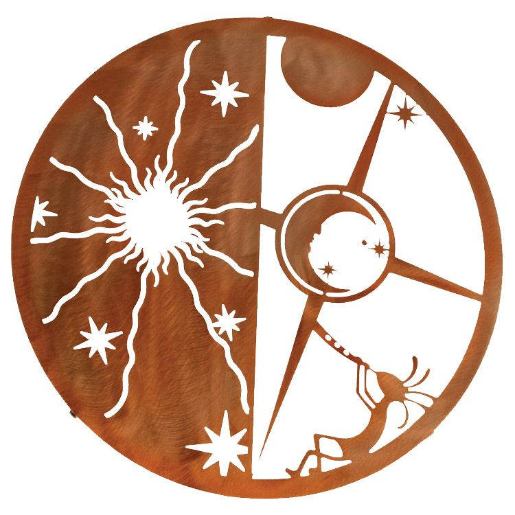 Kokopelli Sun Moon Metal Wall Art