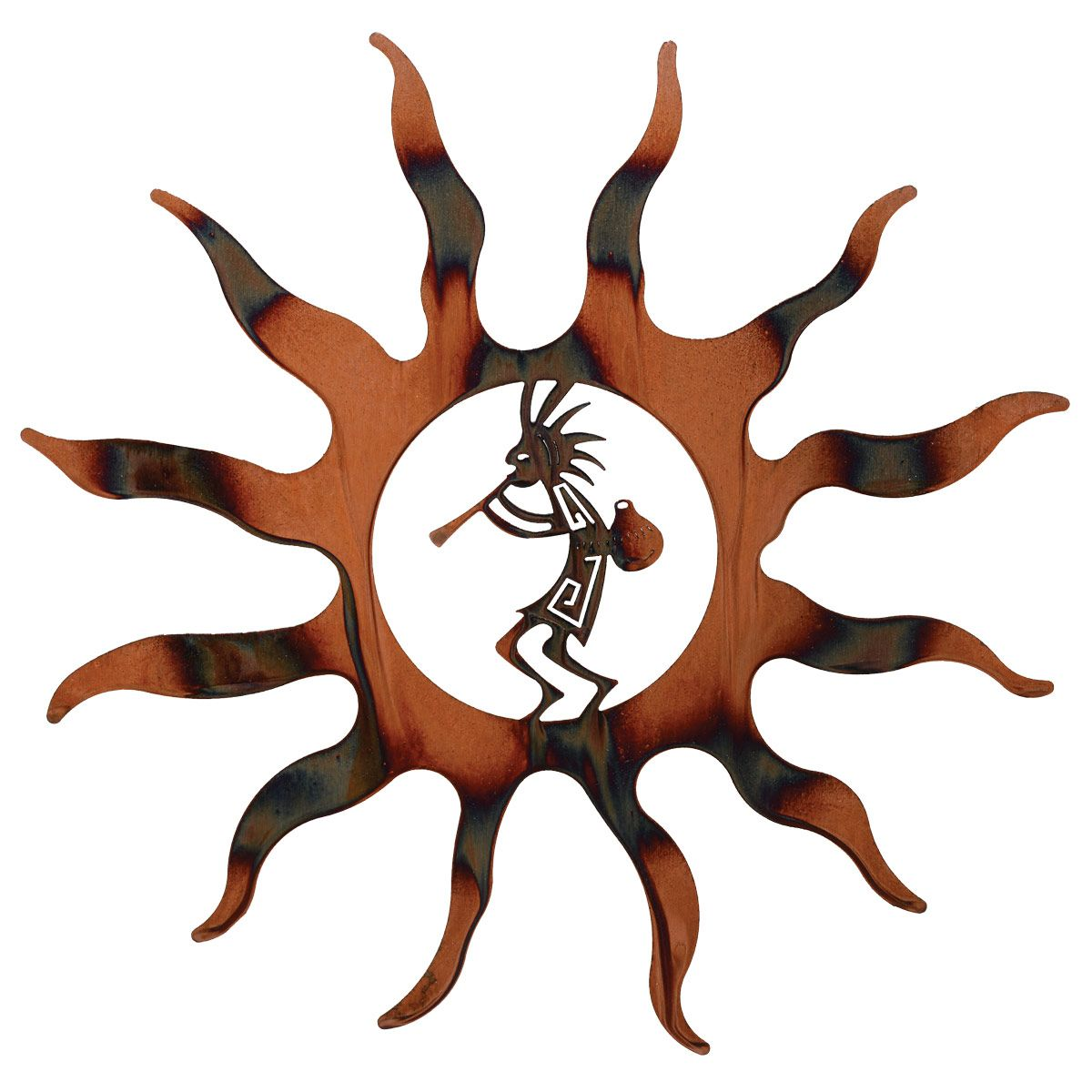 Kokopelli with Pot Sun Metal Wall Art