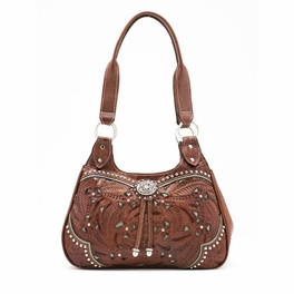 Lady Lace Tan & Turquoise Three Compartment Tote
