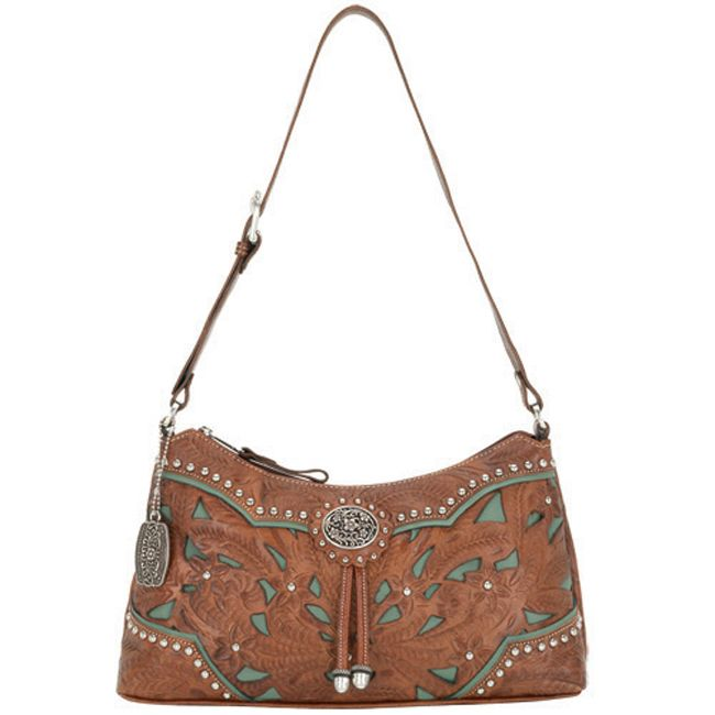 Lady Lace Tan & Turquoise Zip Top Shoulder Bag