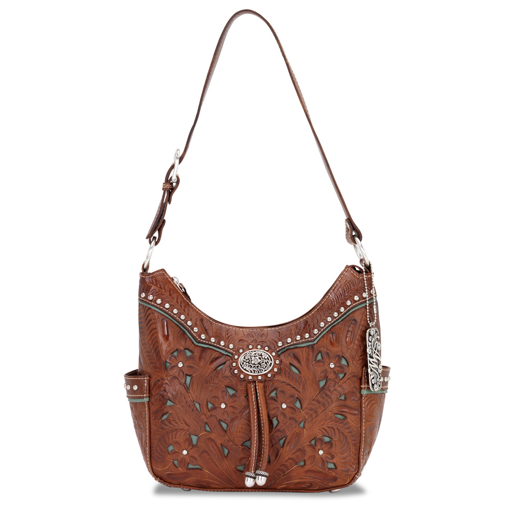 Lady Lace Zip-Top Hobo Bag - Antique Brown