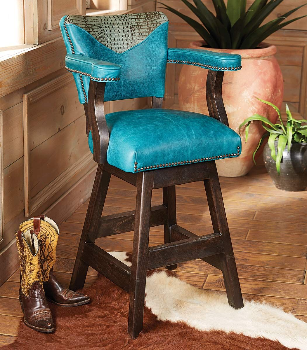 Laramie Plains Barstool with Turquoise Leather