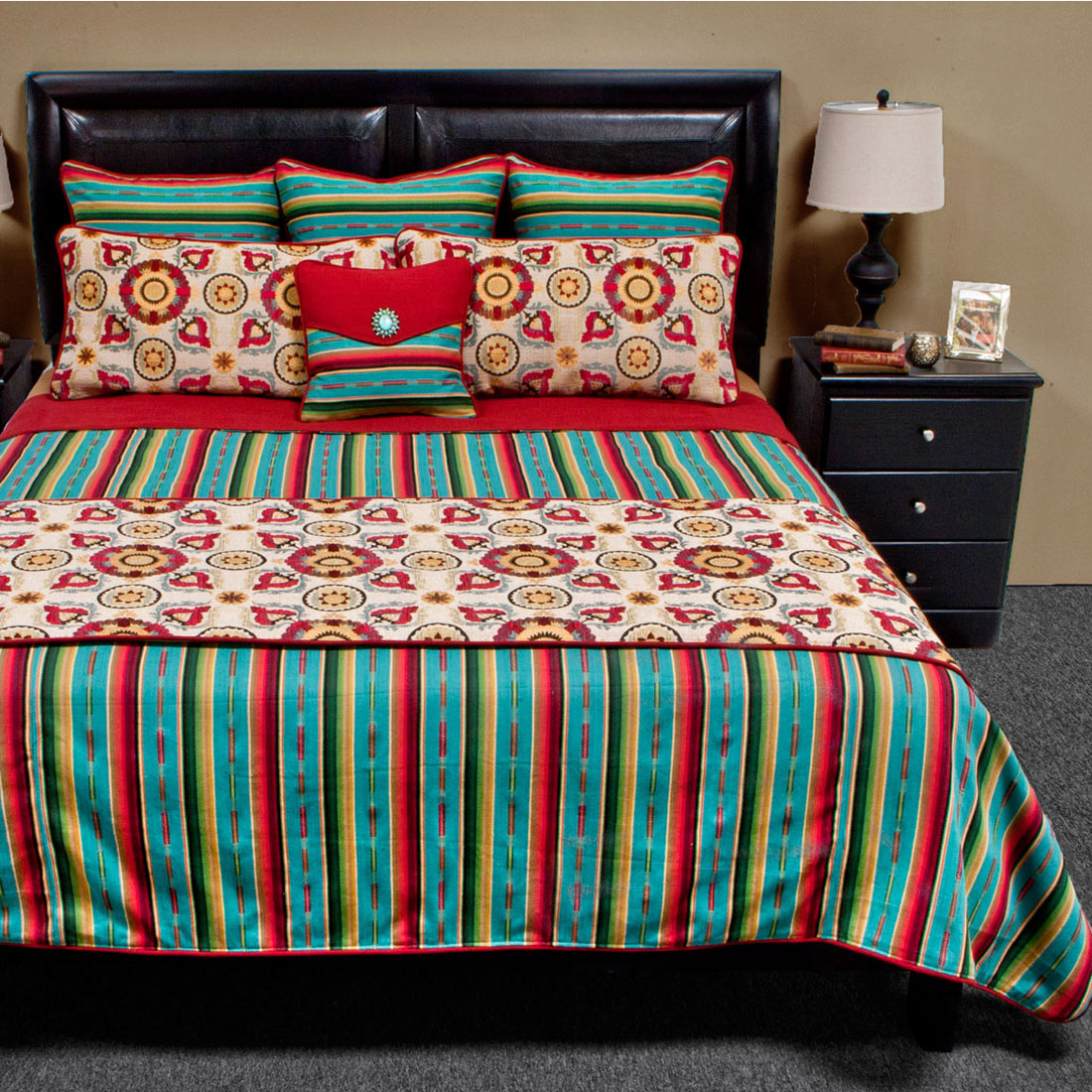 Laredo Turquoise Luxury Bed Set - Queen Plus