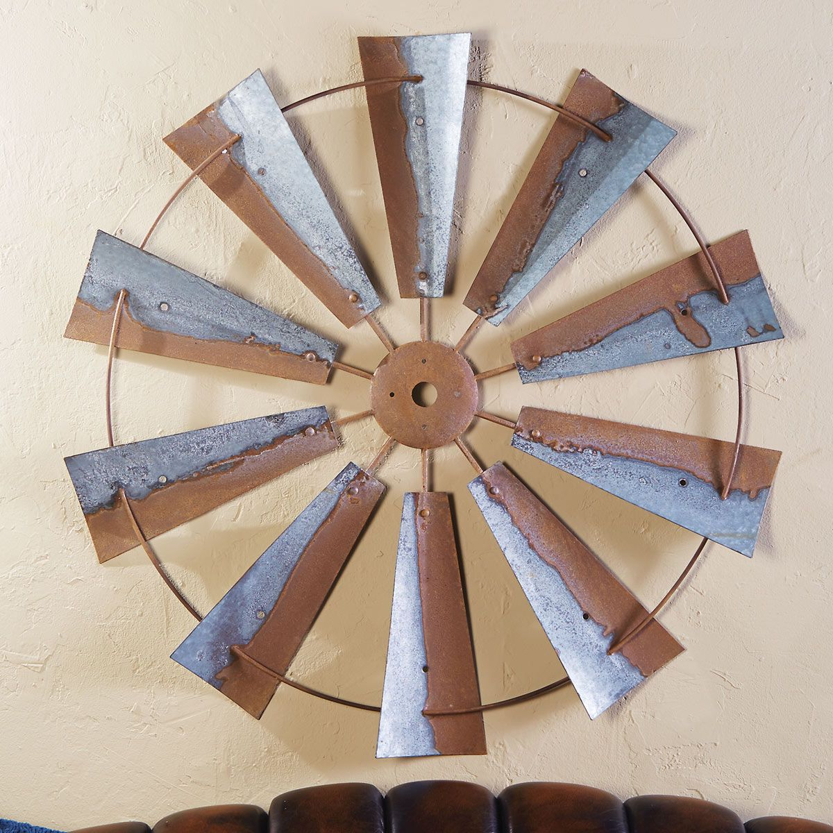 Large Metal Windmill Wall Hanging