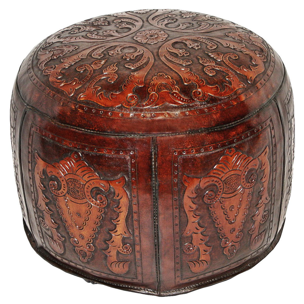 Large Round Brown Colonial Ottoman