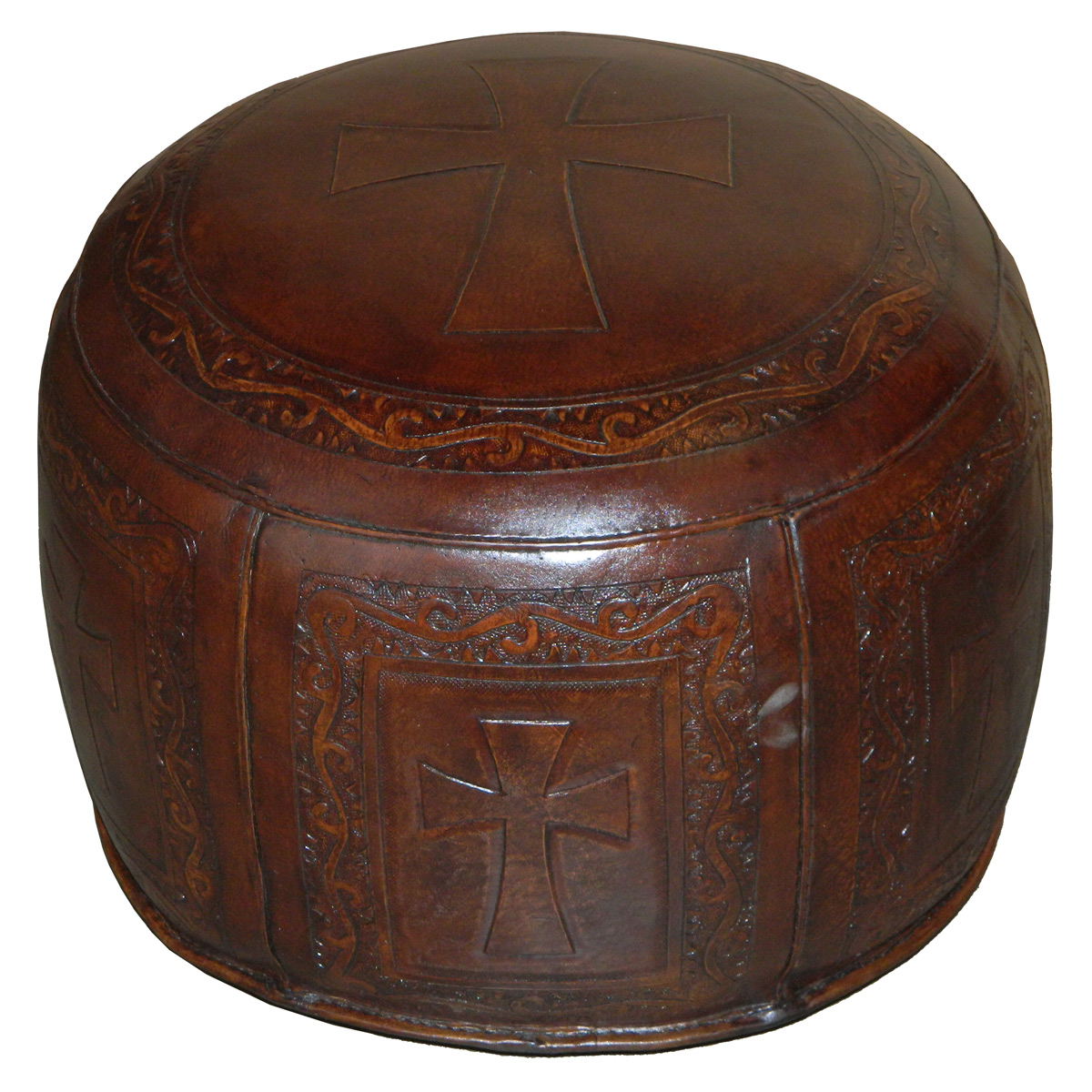 Large Round Brown Flared Cross Ottoman